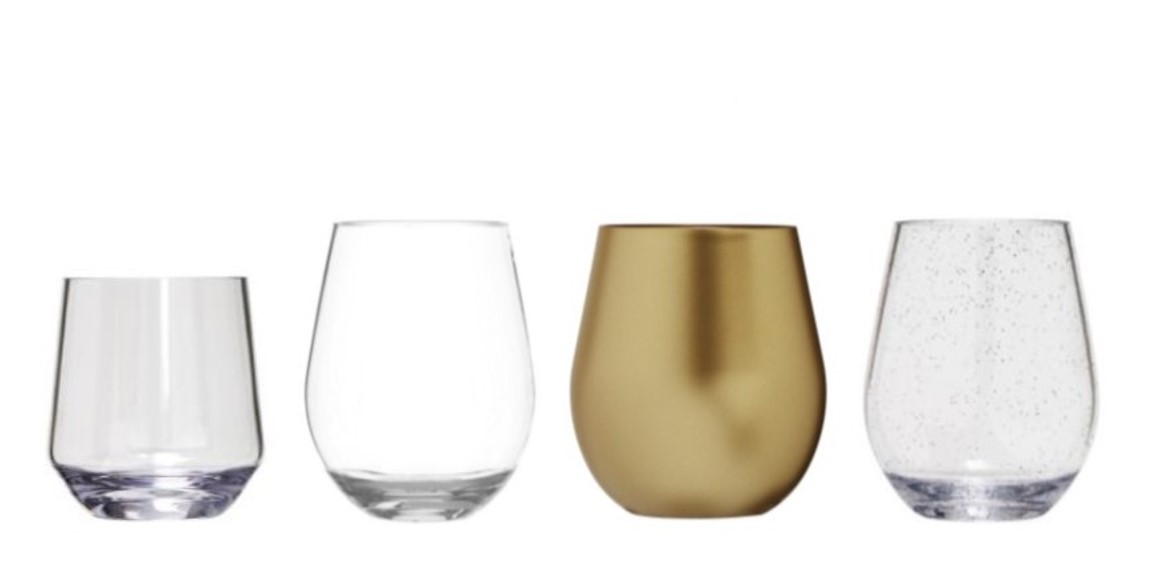 Stemless Wine Glasses In Unbreakable Polycarbonate Or Bpa