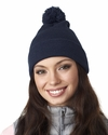 Knit Pom-Pom Beanie with Cuff: (8136)
