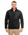 Men's Fleece Jacket with Quilted Yoke Overlay: (8492)