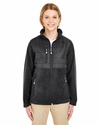 Ladies' Fleece Jacket with Quilted Yoke Overlay: (8493)