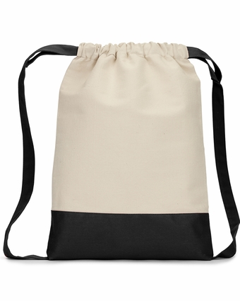 Contrast Bottom Cotton Canvas Drawstring Pack: (8876)