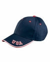 Adams Headwear Cap: 6-Panel Structured Sandwich w/ USA Embroidered on Visor (NT102)