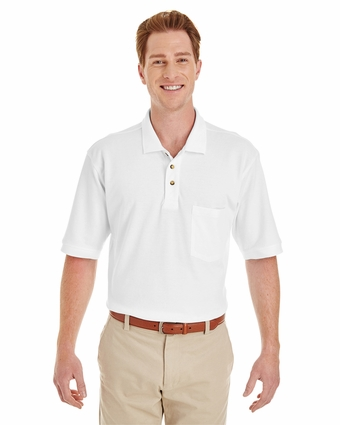 Adult 6 oz. Ringspun Cotton Piqué Short-Sleeve Pocket Polo: (M200P)