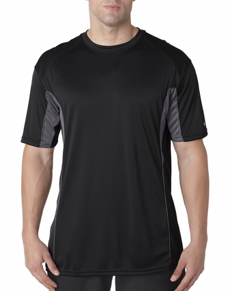 Badger Sport Men's T-Shirt: 100% Polyester Performance Drive Color Block with Piping (4147)