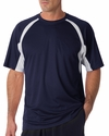 Badger Sport Men's T-Shirt: 100% Polyester B-Dry Two-Toned Hook Short Sleeve (4144)