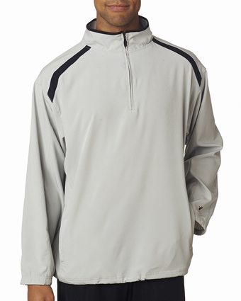 Badger Sport Men's Windshirt: Blended Water Resistant Shoulder Striped 1/4-Zip Pullover (7631)