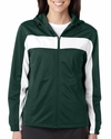Badger Sport Women's Jacket: 100% Polyester Brushed Tricot Color Block Hooded Full-Zip with Pockets (7905)