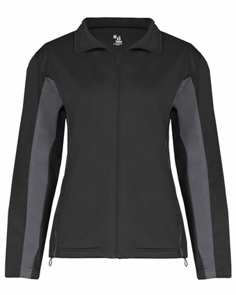 Badger Sport Women's Jacket: 100% Polyester Brushed Tricot Drive Two-Toned Full-Zip with Pockets (7903)