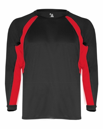 Badger Sport Youth T-Shirt: Performance Color Block Hook Athletic Long Sleeve (2154)