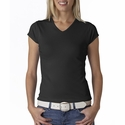 Bella Women's T-Shirt: 100% Cotton 1 X 1 Rib Cap Sleeve V-Neck (1005)