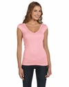 Bella Women's T-Shirt: 4 oz. Sheer Rib Cap Sleeve Deep V-Neck (B8705)