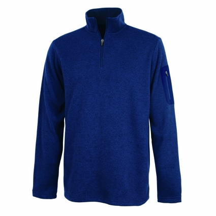 Charles River Men's Pullover Jacket: Heathered Fleece Quarter-Zip with Sleeve Pocket (9312)