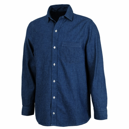 Charles River Men's Tall Chambray Shirt: 100% Cotton Indigo-Dyed Button-Down with Left Chest Pocket (3329T)