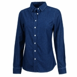 Womens Straight Collar Chambray Shirt