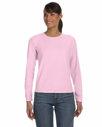 Ladies' Ringspun Garment-Dyed Long-Sleeve T-Shirt: (C3014)
