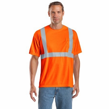 CornerStone Men's Safety T-Shirt: ANSI Compliant with Pocket (CS401)