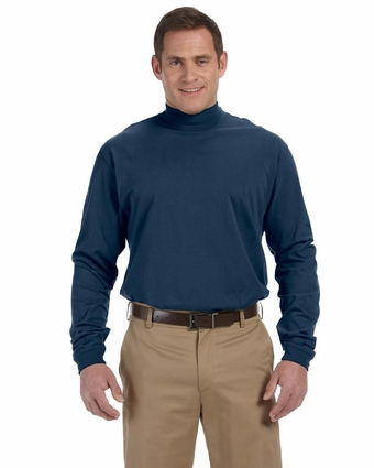 Devon & Jones Men's Mock Turtleneck: 100% Tanguis Cotton Sueded Jersey (D420)