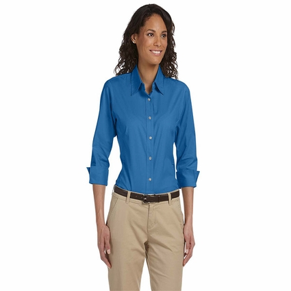 Devon & Jones Women's Blouse: Three-Quarter-Sleeve Stretch Poplin (DP625W)