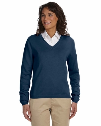 Devon & Jones Women's Sweater: 100% Cotton V-Neck (D475W)
