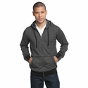 District Made Men's Sweatshirt: Two-Tone Mini Stripe Full-Zip Hoodie (DM390)