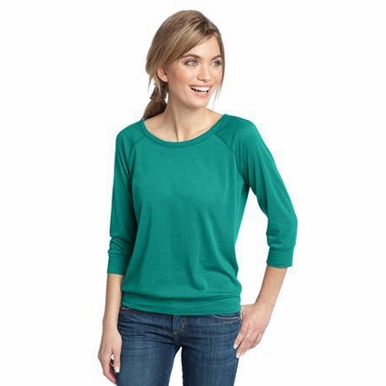 District Made Women's T-Shirt: 3/4 Sleeve Modal Blend Open Neckline(DM482)