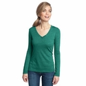 District Made Women's T-Shirt: Textured Long Sleeve V-Neck(DM472)