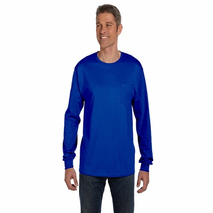6.1 oz. Tagless® ComfortSoft® Long-Sleeve Pocket T-Shirt: (5596)
