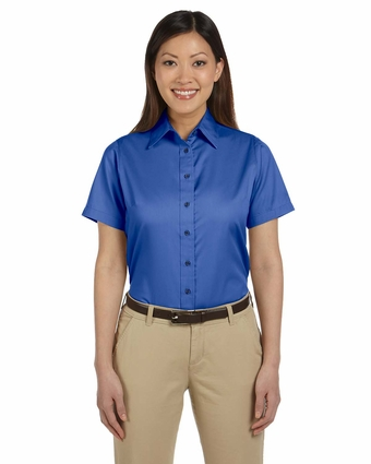Ladies' Easy Blend™ Short-Sleeve Twill Shirt with Stain-Release: (M500SW)