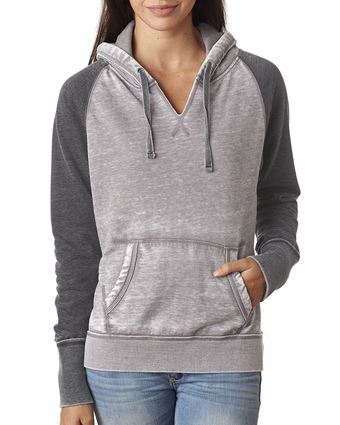 Ladies' Zen Contrast Hooded Fleece: (JA8926)