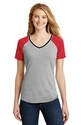Juniors Mesh Sleeve V-Neck Tee