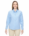 Ladies' Align Wrinkle-Resistant Cotton Blend Dobby Vertical Striped Shirt: (77044)