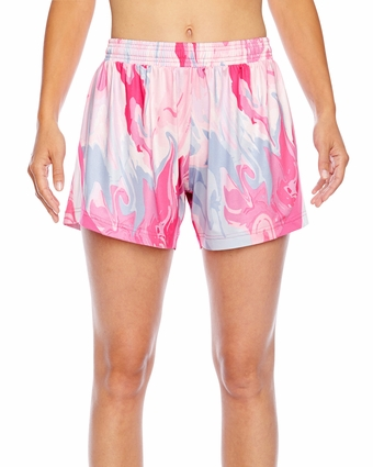 Ladies' All Sport Sublimated Pink Swirl Short: (TT42W)