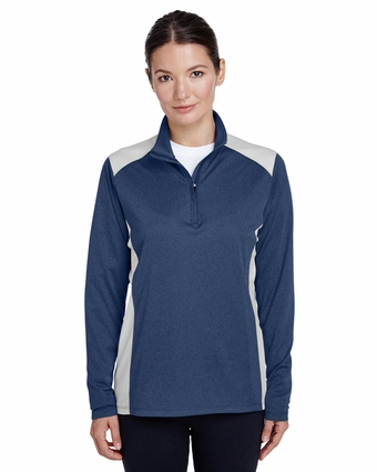 Ladies' Excel Mélange Interlock Performance Quarter-Zip Top: (TT26W)