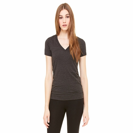 Ladies' Made in the USA Jersey Short-Sleeve Deep V-Neck T-Shirt