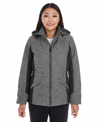 Ladies' Midtown Insulated Fabric-Block Jacket with Crosshatch Melange: (DG710W)