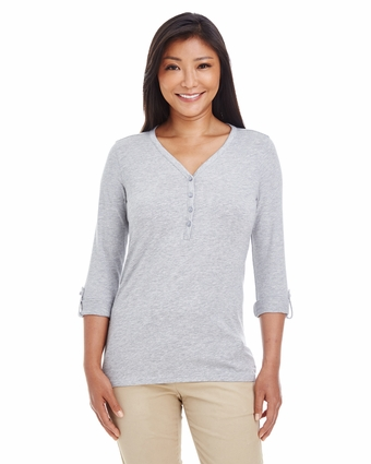 Ladies' Perfect Fit  Y-Placket Convertible Sleeve Knit Top: (DP186W)