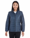 Ladies' Portable Interactive Printed Packable Puffer: (NE701W)