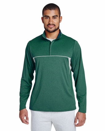 Men's Excel Mélange Interlock Performance Quarter-Zip Top: (TT26)