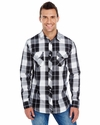 Men's Long-Sleeve Plaid Pattern Woven