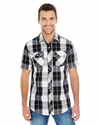 Men's Short-Sleeve Plaid Pattern Woven
