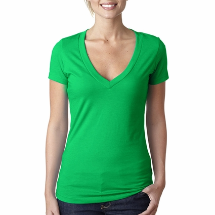 Next Level Women's T-Shirt: Combed Cotton/Poly Jersey Short Sleeve Deep V-Neck (6640)