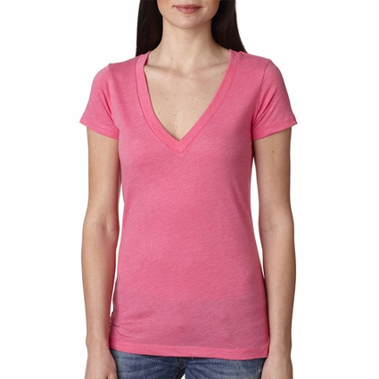 Next Level Women's T-Shirt: Preshrunk Tri-Blend Deep V-Neck (6740)