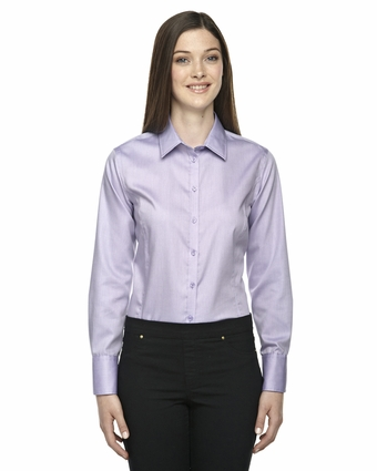 Ladies' Boulevard Wrinkle-Free Two-Ply 80's Cotton Dobby Taped Shirt with Oxford Twill: (78673)