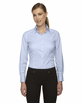 Ladies' Wrinkle-Free Two-Ply 80's Cotton Taped Stripe Jacquard Shirt: (78646)