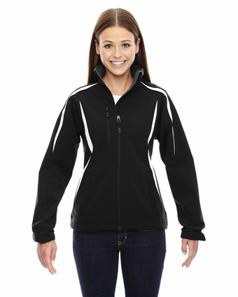 Ladies' Enzo Colorblocked Three-Layer Fleece Bonded Soft Shell Jacket: (78650)