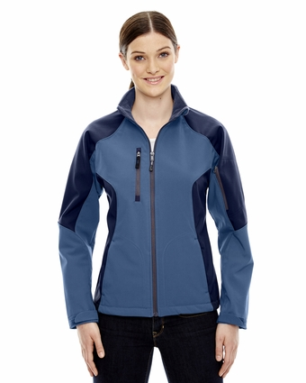 Ladies' Compass Colorblock Three-Layer Fleece Bonded Soft Shell Jacket: (78077)
