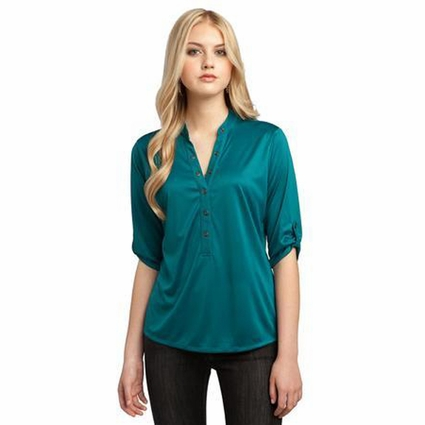 OGIO Women's Henley: 3/4 Sleeve Polyester Interlock(LOG111)