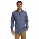 Port Authority Men's Denim Shirt: 100% Cotton Pocketed with Pen Holder (S652)