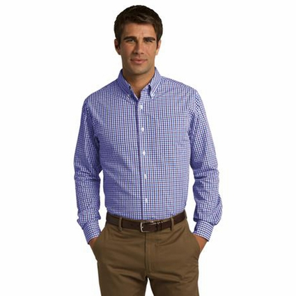 Port Authority Men's Shirt: Gingham Easy Care Pocketed Long Sleeve (S654)