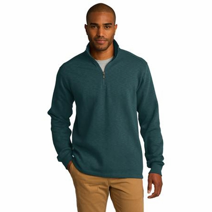 Port Authority Men's Fleece Jacket: Slub Texture 1/4-Zip Pullover (F295)